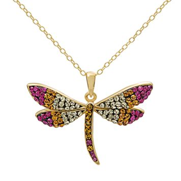Crystal 14k Gold Over Silver Dragonfly Pendant Necklace