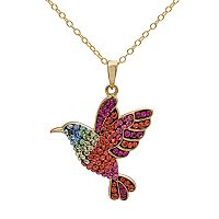 Crystal 14k Gold Over Silver Hummingbird Pendant Necklace