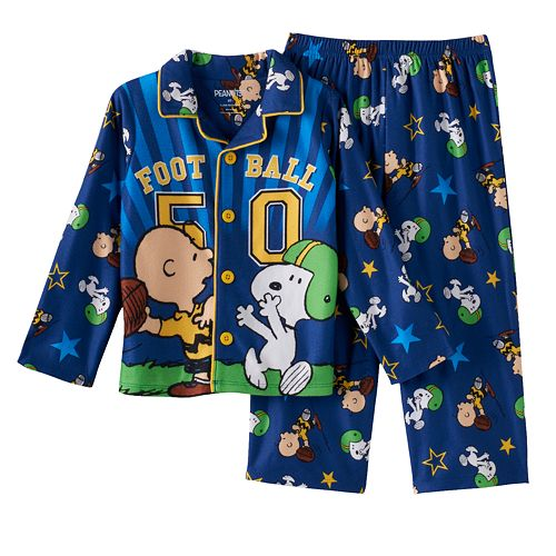 Peanuts Snoopy Toddler Boys Fleece Long-Sleeve Henley T-Shirt /& Pants Set