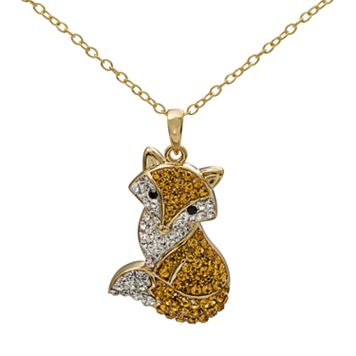 Crystal 14k Gold Over Silver Fox Pendant Necklace