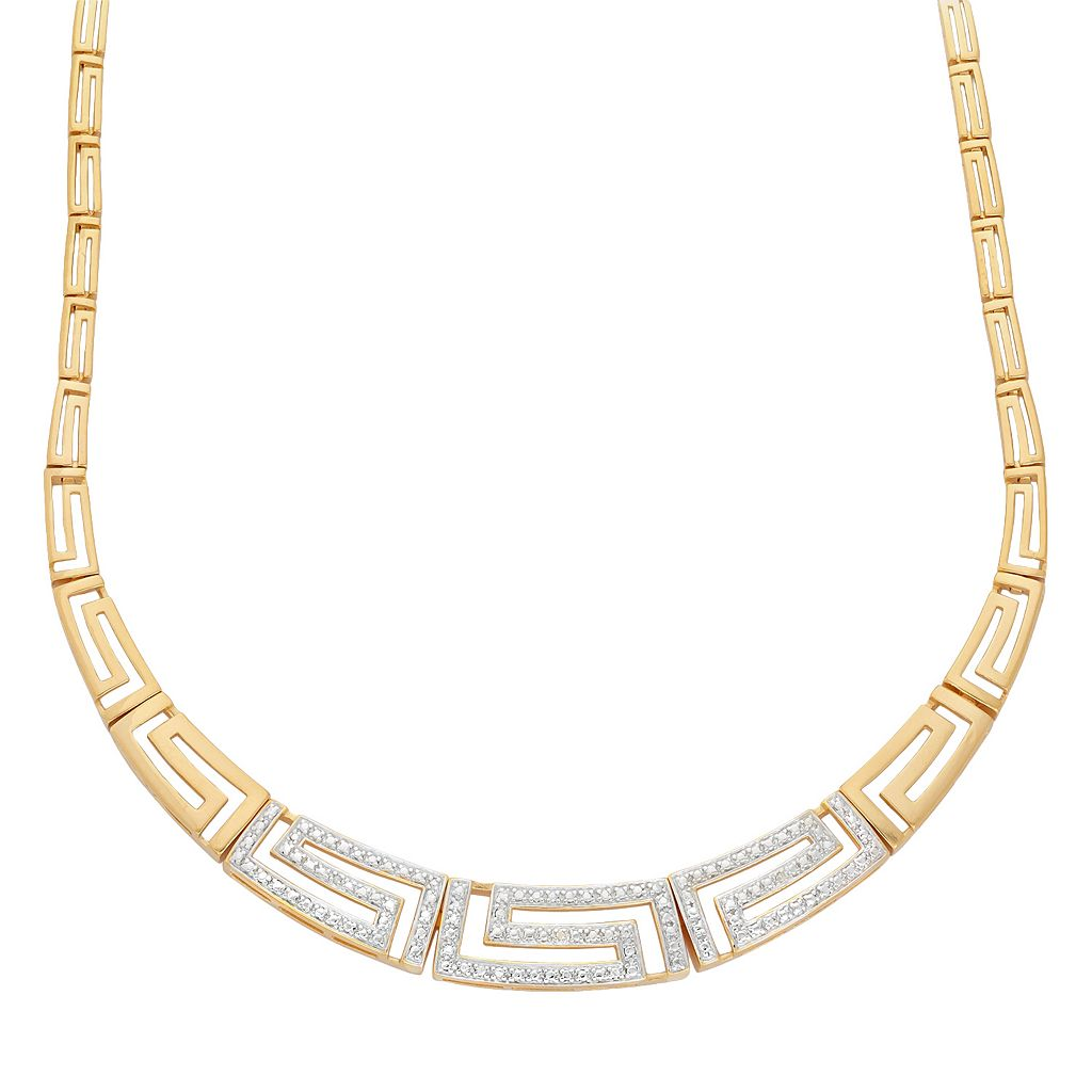18k Gold Over Silver Greek Key Necklace
