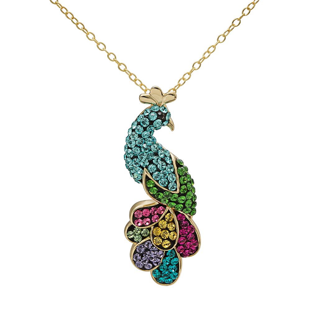 Crystal 14k Gold Over Silver Peacock Pendant Necklace