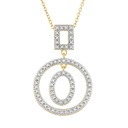 18k Gold Over Silver Geometric Pendant Necklace