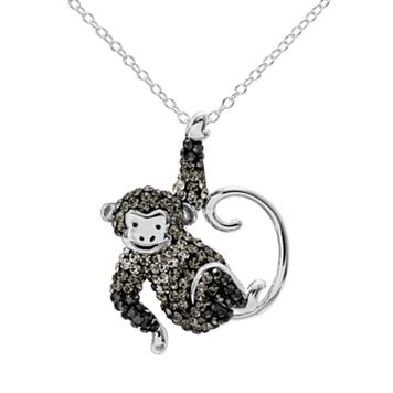 Crystal Sterling Silver Monkey Pendant Necklace