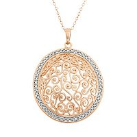 18k Gold Over Silver Filigree Circle Pendant Necklace