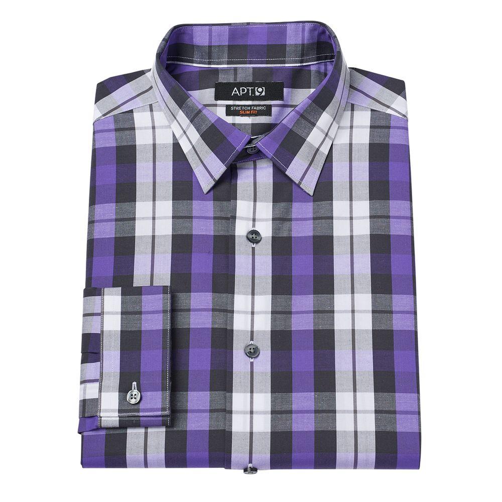 Apt. 9 ® Slim-Fit Plaid Stretch Dress Shirt