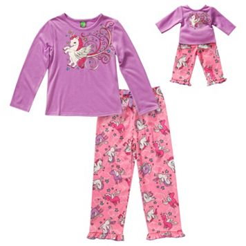 Girls 4-14 Dollie & Me Sparkly Unicorn Pajama Set