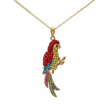 Crystal 14k Gold Over Silver Parrot Pendant Necklace