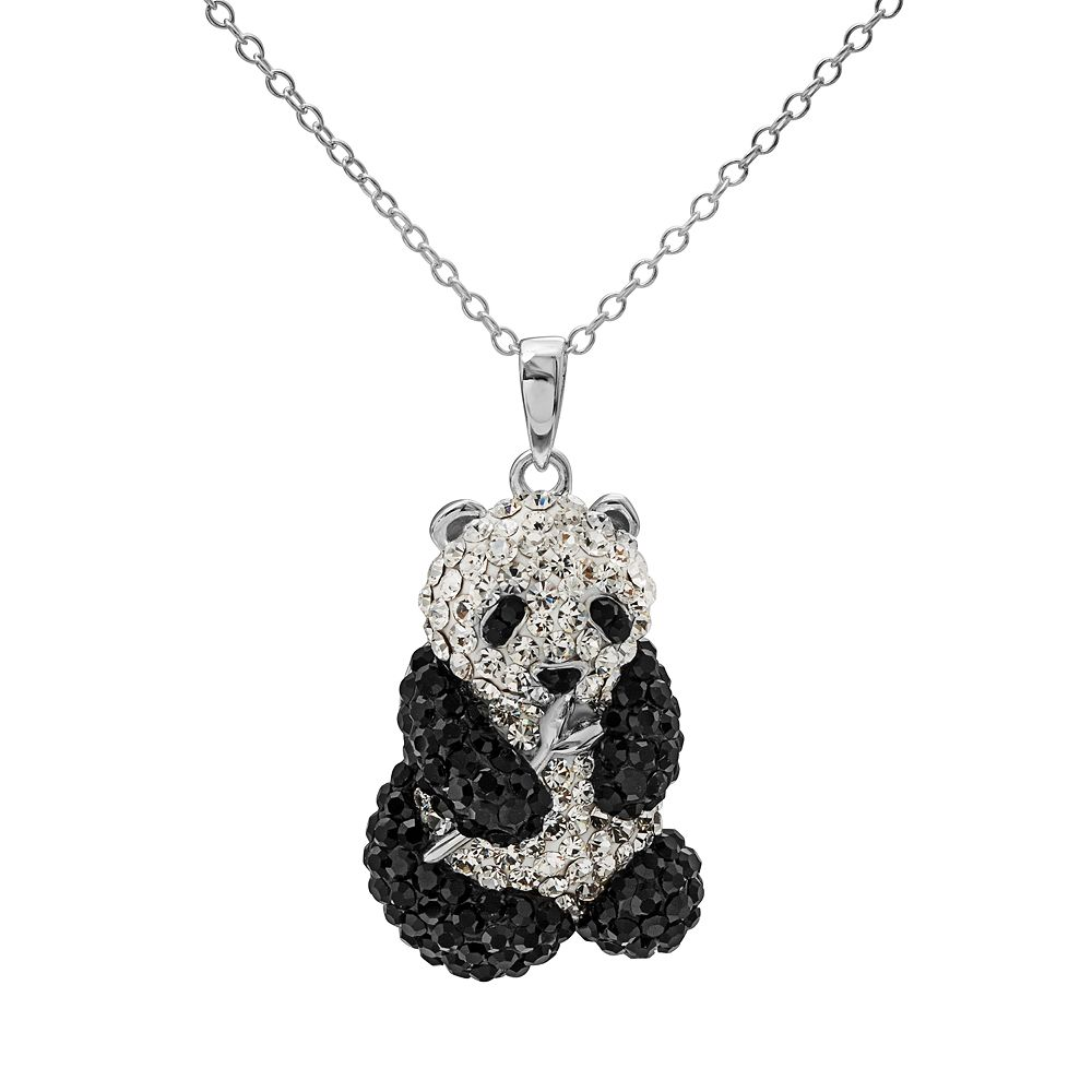 Crystal sterling silver panda bear pendant necklace aloadofball Images