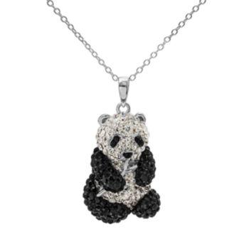 Crystal Sterling Silver Panda Bear Pendant Necklace