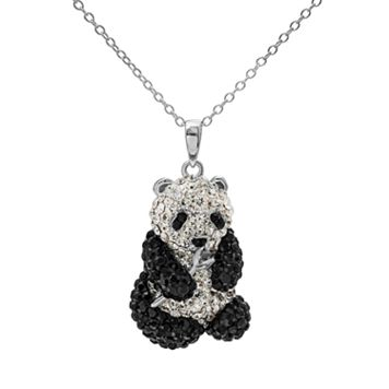 Crystal Sterling Silver Panda Bear Pendant Necklace