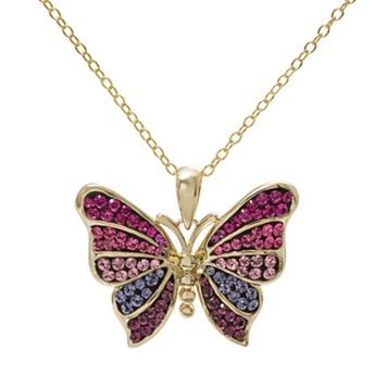 Crystal 14k Gold Over Silver Butterfly Pendant Necklace