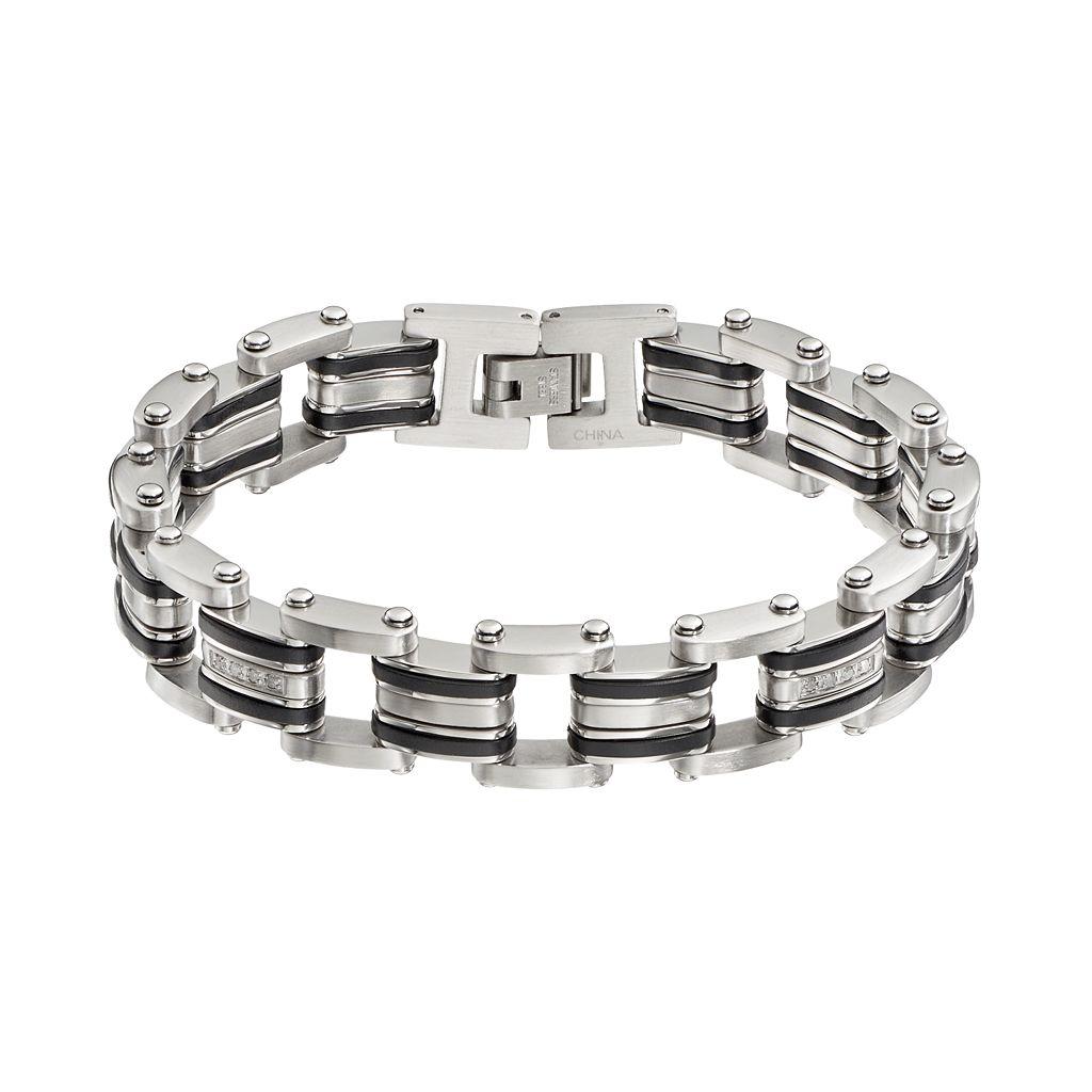 1/5 Carat T.W. Diamond Stainless Steel & Resin Bracelet - Men