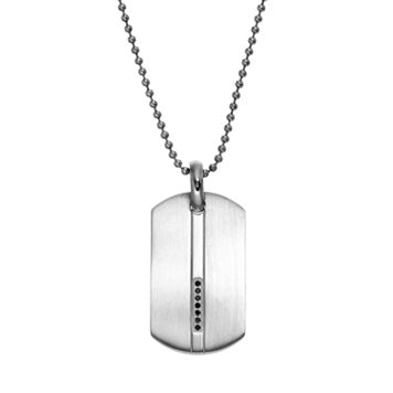 1/10 Carat T.W. Black Diamond Stainless Steel Dog Tag - Men