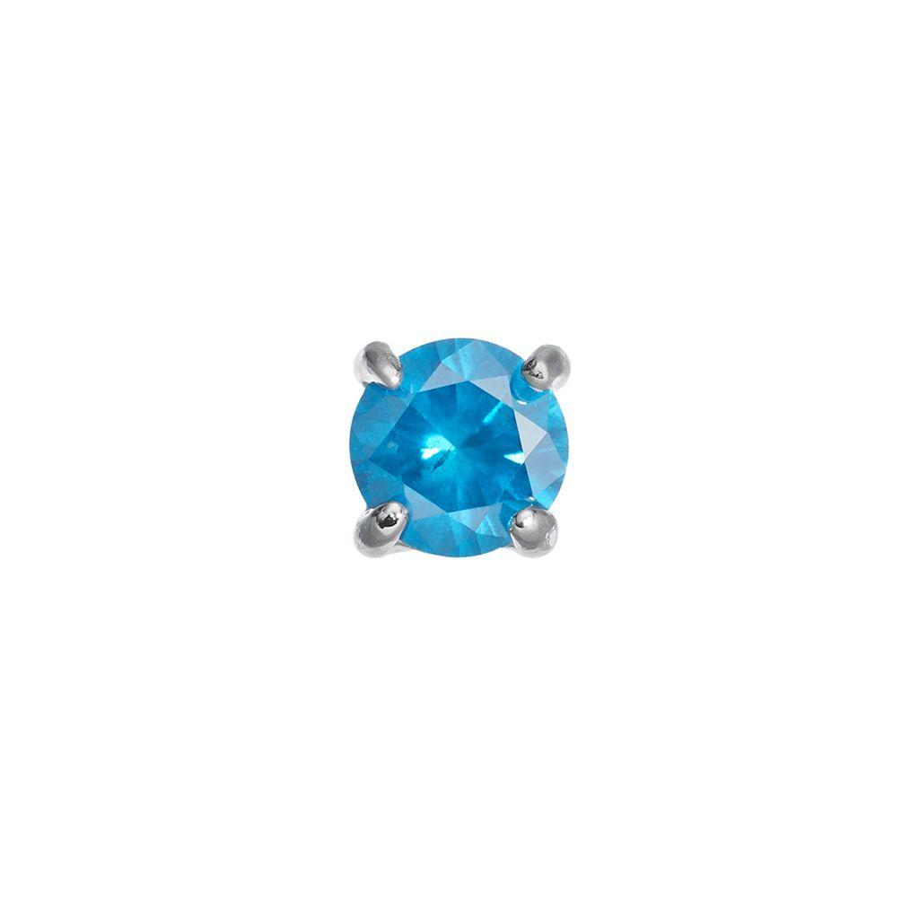 1/4 Carat T.W. Blue Diamond Stainless Steel Stud - Single Earring