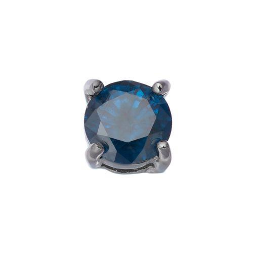 1/2 Carat T.W. Blue Diamond Stainless Steel Stud - Single Earring
