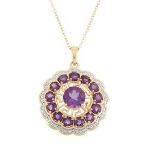Amethyst 18k Gold Over Silver Flower Pendant Necklace