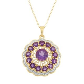 Amethyst 18k Gold Over Silver Flower Pendant Necklace