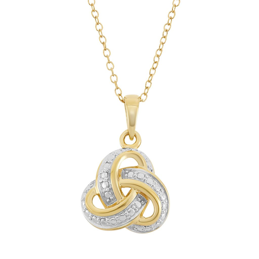 18k Gold Over Silver Love Knot Pendant Necklace
