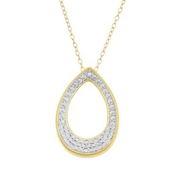 18k Gold Over Silver Teardrop Pendant Necklace