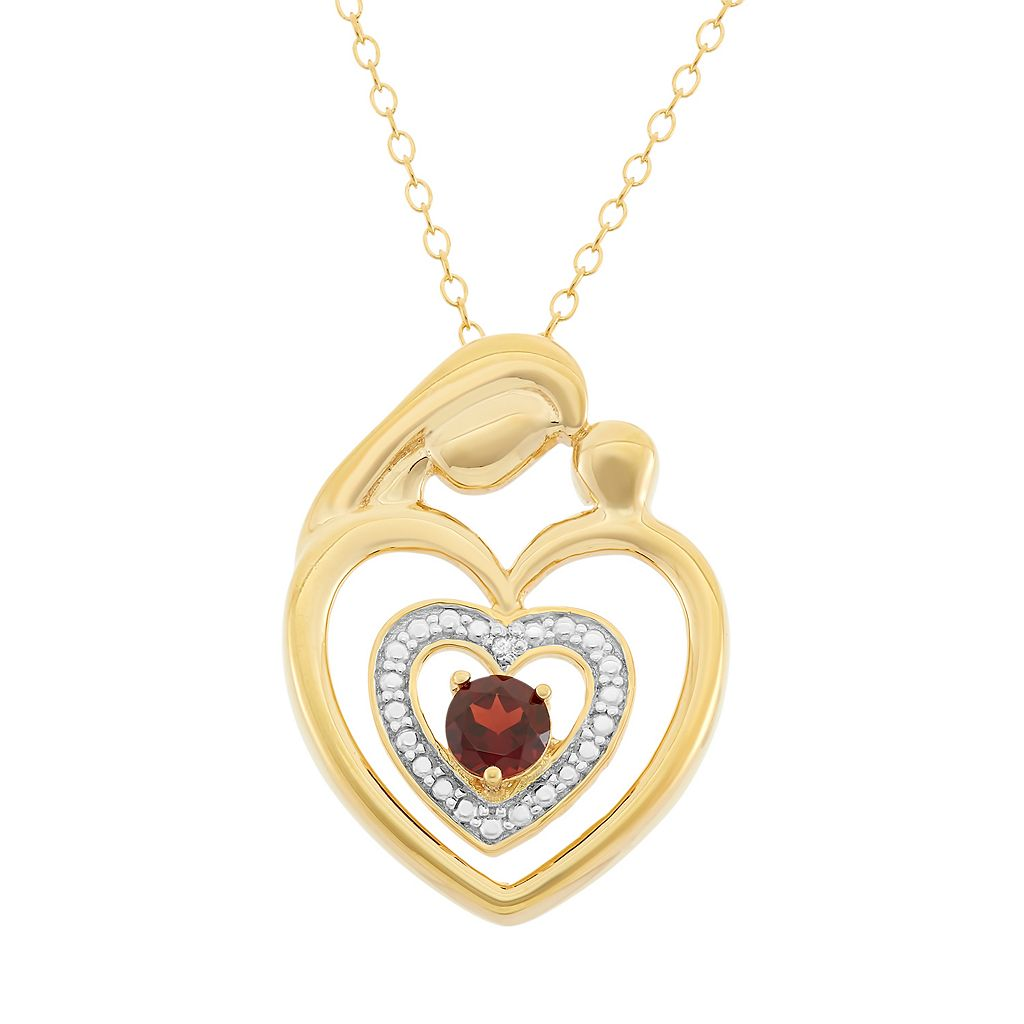 Garnet 18k Gold Over Silver Motherly Love Pendant Necklace