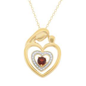 Garnet 18k Gold Over Silver Motherly Love Pendant Necklace
