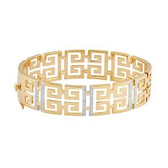 18k Gold Over Silver Greek Key Bangle Bracelet