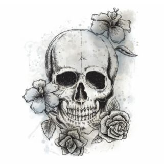 Floral Skull Peel and Stick Wall Decal