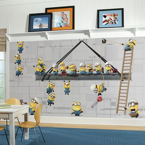 Minions At Work Chair Rail Pre-Pasted Mural