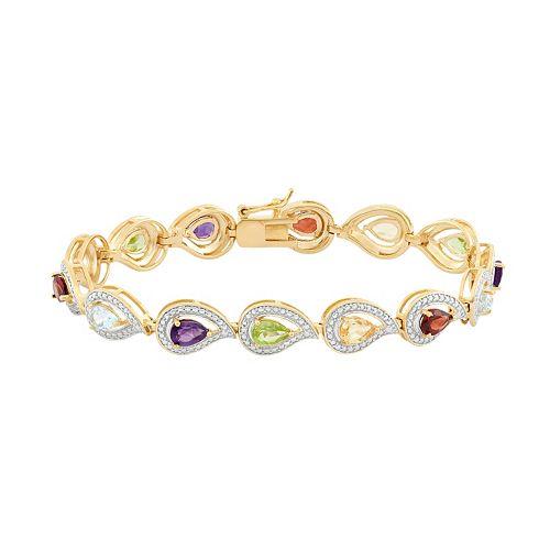 Gemstone 18k Gold Over Silver Teardrop Link Bracelet