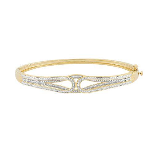 18k Gold Over Silver Hinged Bangle Bracelet