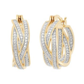 18k Gold Over Silver Crisscross Hoop Earrings