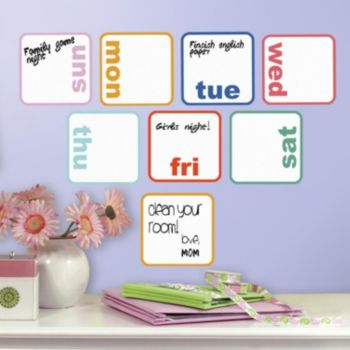 Days Of The Week Dry Erase Peel and Stick Wall Decals
