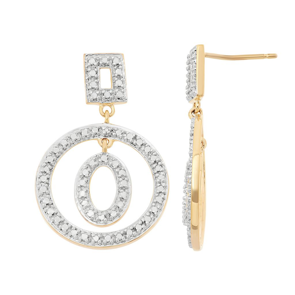 18k Gold Over Silver Hoop Drop Earrings