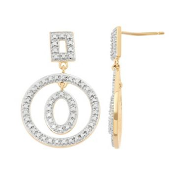 18k Gold Over Silver Hoop Drop Earrings