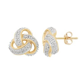18k Gold Over Silver Love Knot Stud Earrings