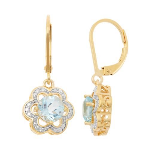 Sky Blue Topaz 18k Gold Over Silver Flower Drop Earrings