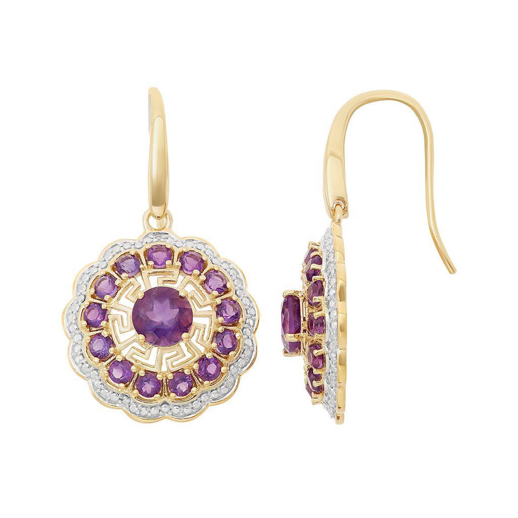 Amethyst 18k Gold Over Silver Flower Drop Earrings