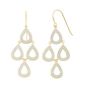 18k Gold Over Silver Teardrop Kite Earrings