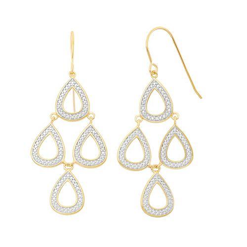 18k Gold Over Silver Teardrop Kite Earrings