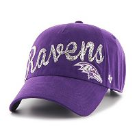 Women's '47 Brand Baltimore Ravens Sparkle Script Clean Up Adjustable Cap