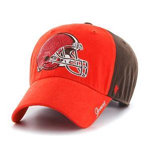 Women's '47 Brand Cleveland Browns Sparkle Logo Clean Up Adjustable Cap