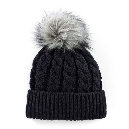 70de283d379 Madden Girl Faux-Fur Pom-Pom Cable-Knit Beanie Hat