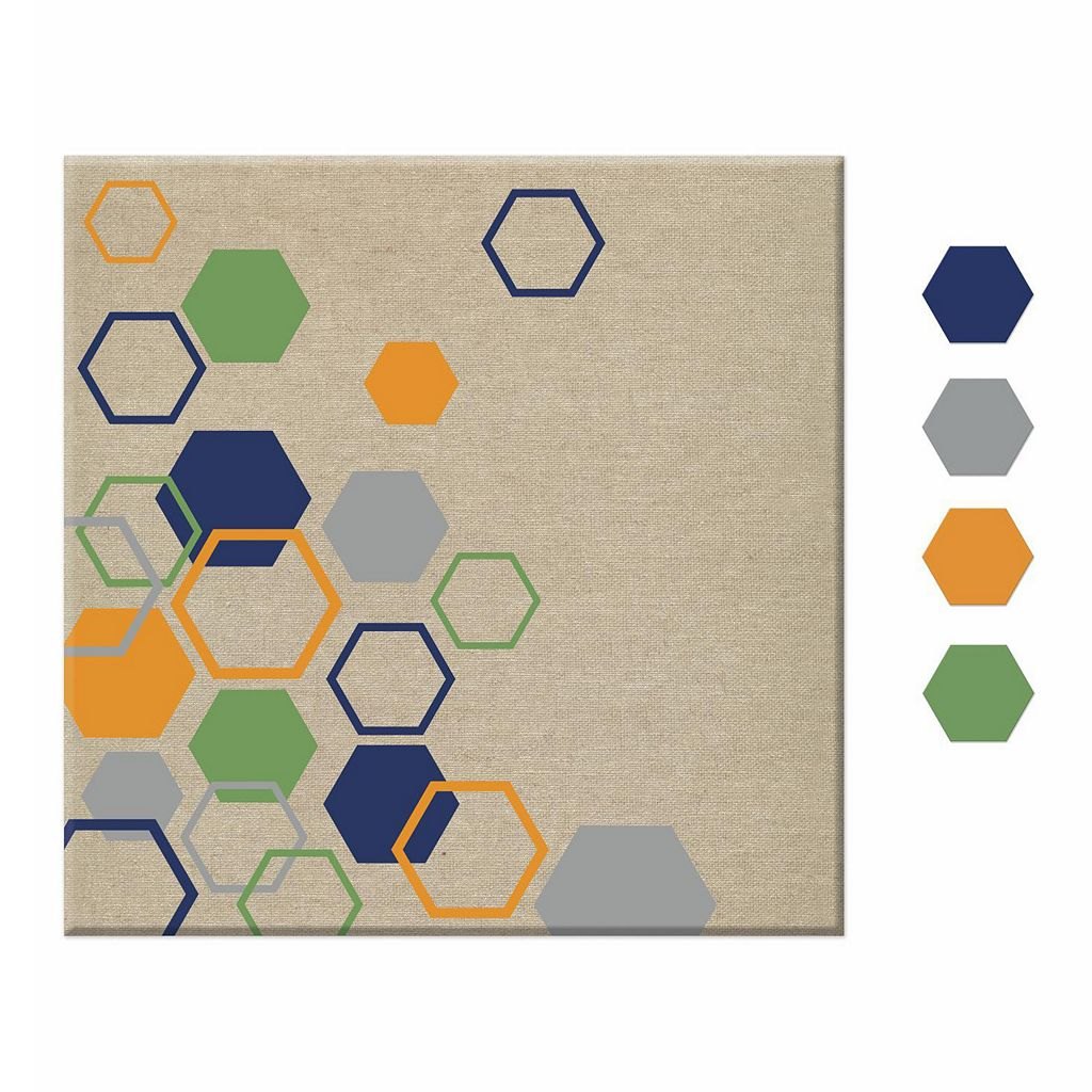 Hexagon 5-piece Magnetic Dry Erase Wall Art Set