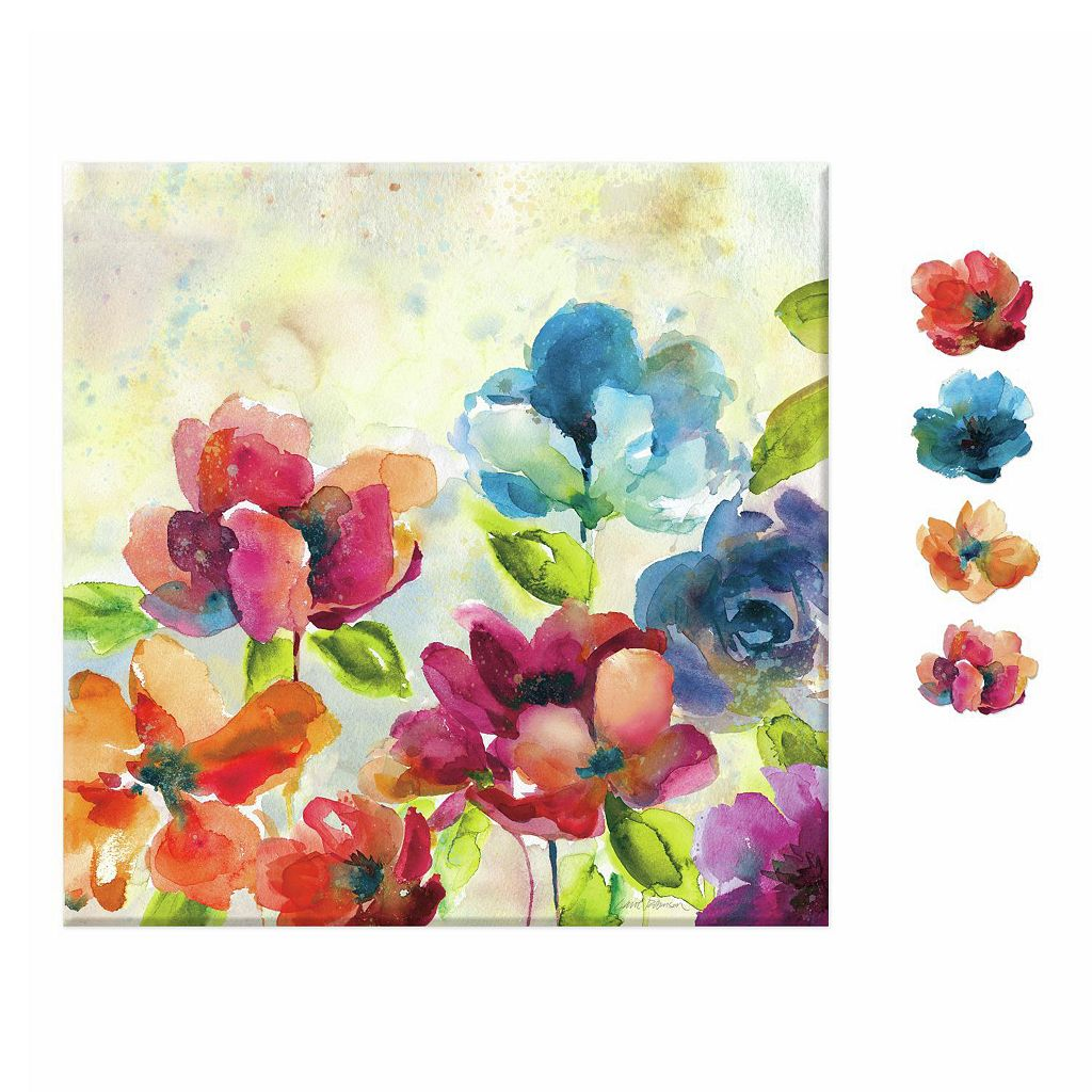 Watercolor Floral 5-piece Magnetic Dry Erase Wall Art Set