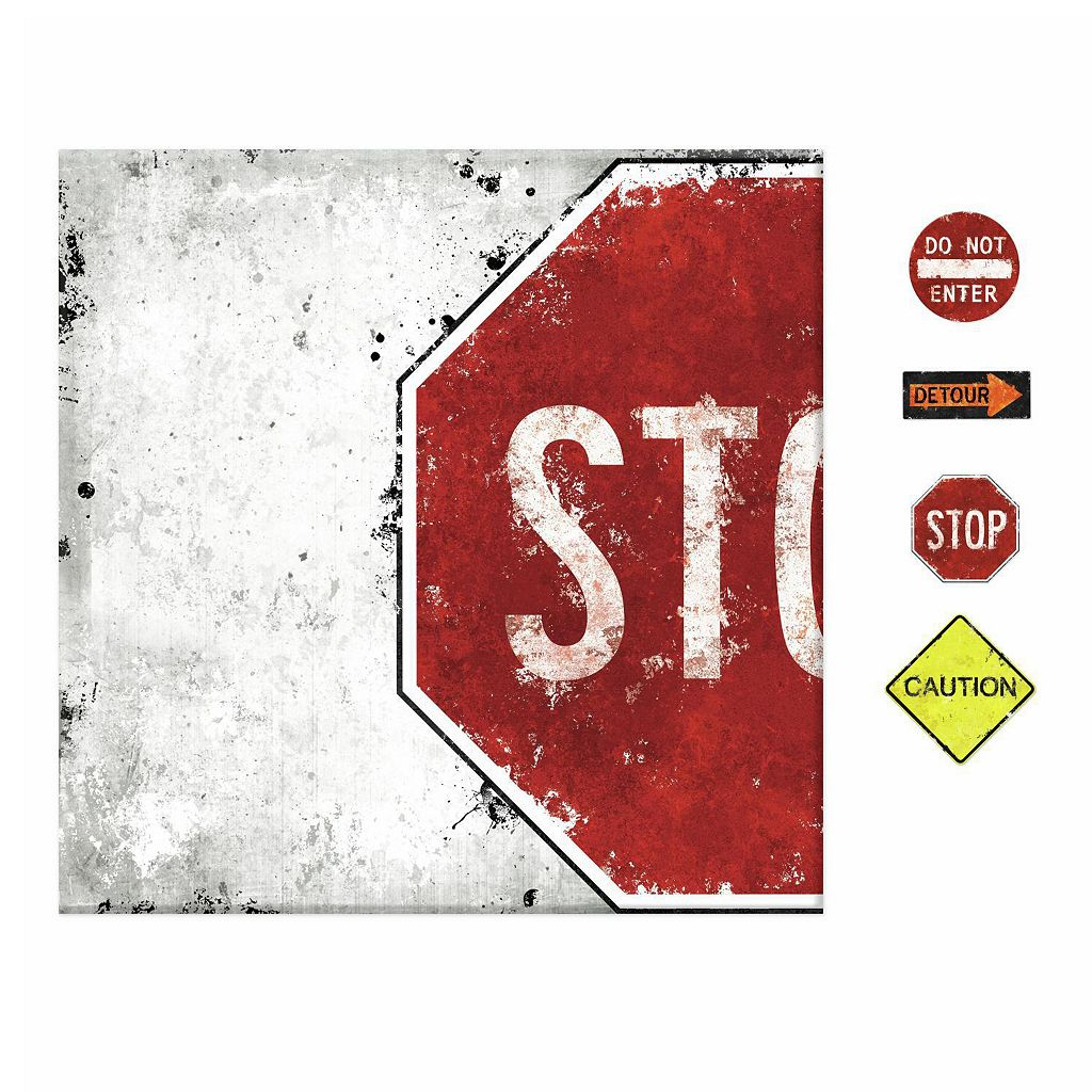 Stop Sign 5-piece Magnetic Dry Erase Wall Art Set