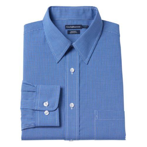 Men's Croft & Barrow® Classic-Fit Checked Broadcloth Dress Shirt