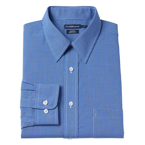 Men's Croft & Barrow® Classic-Fit Checked Broadcloth Dress Shirt