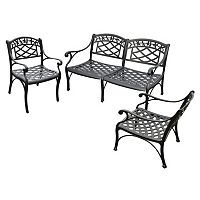 Sedona 3 pc Cast Aluminum Outdoor Seating Set