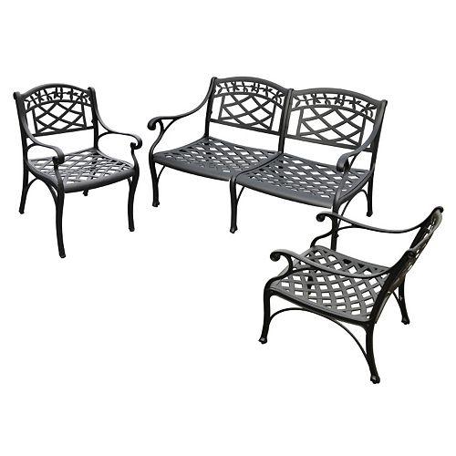 Sedona 3-Piece Cast Aluminum Outdoor Seating Set